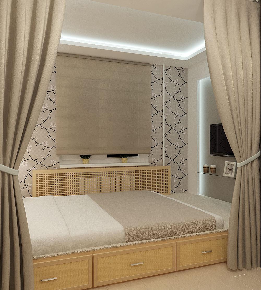 Кровать подиум с перегородкой