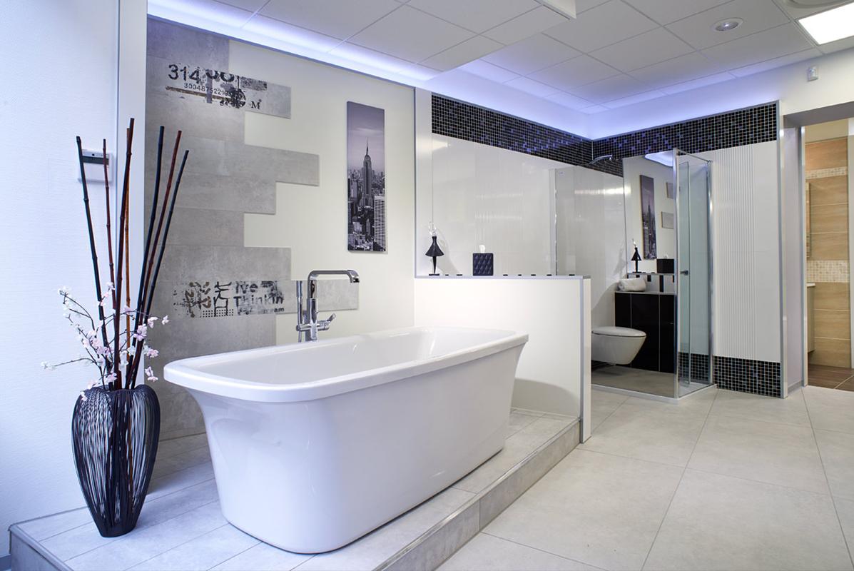 Большая ванная с перегородками