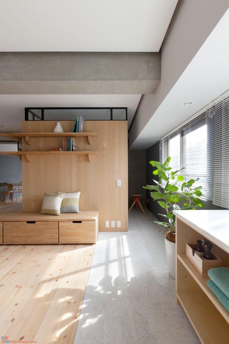 Японский интерьер с деревянным полом