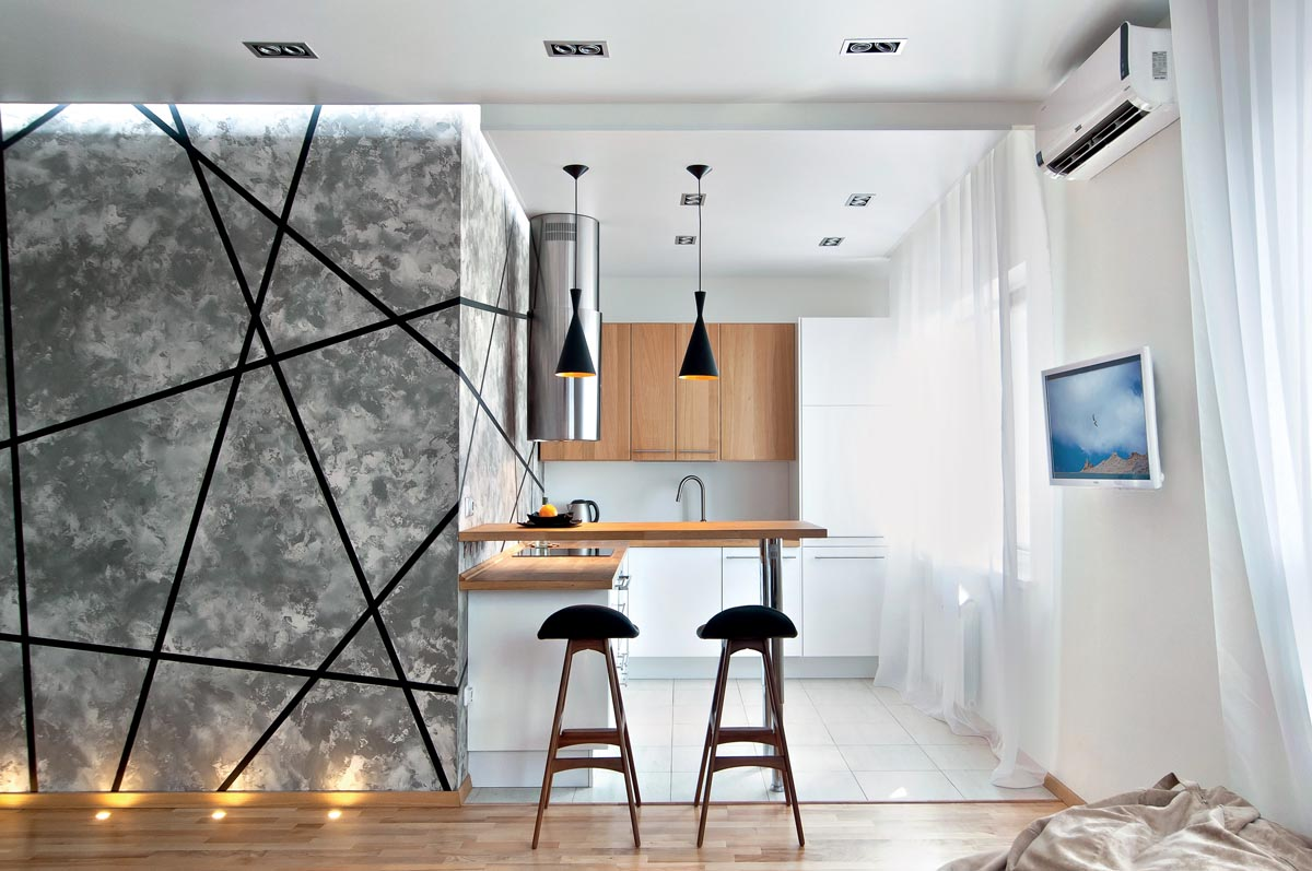 Разделение пространства в однокомнатной квартире
