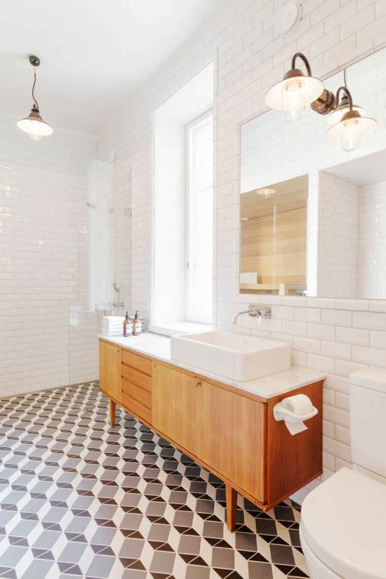 Белый интерьер ванной в стиле ретро