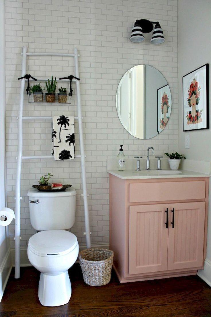 Ванная своими руками с розовой тумбой