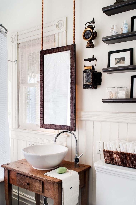 Большая ванная в рустикальном стиле