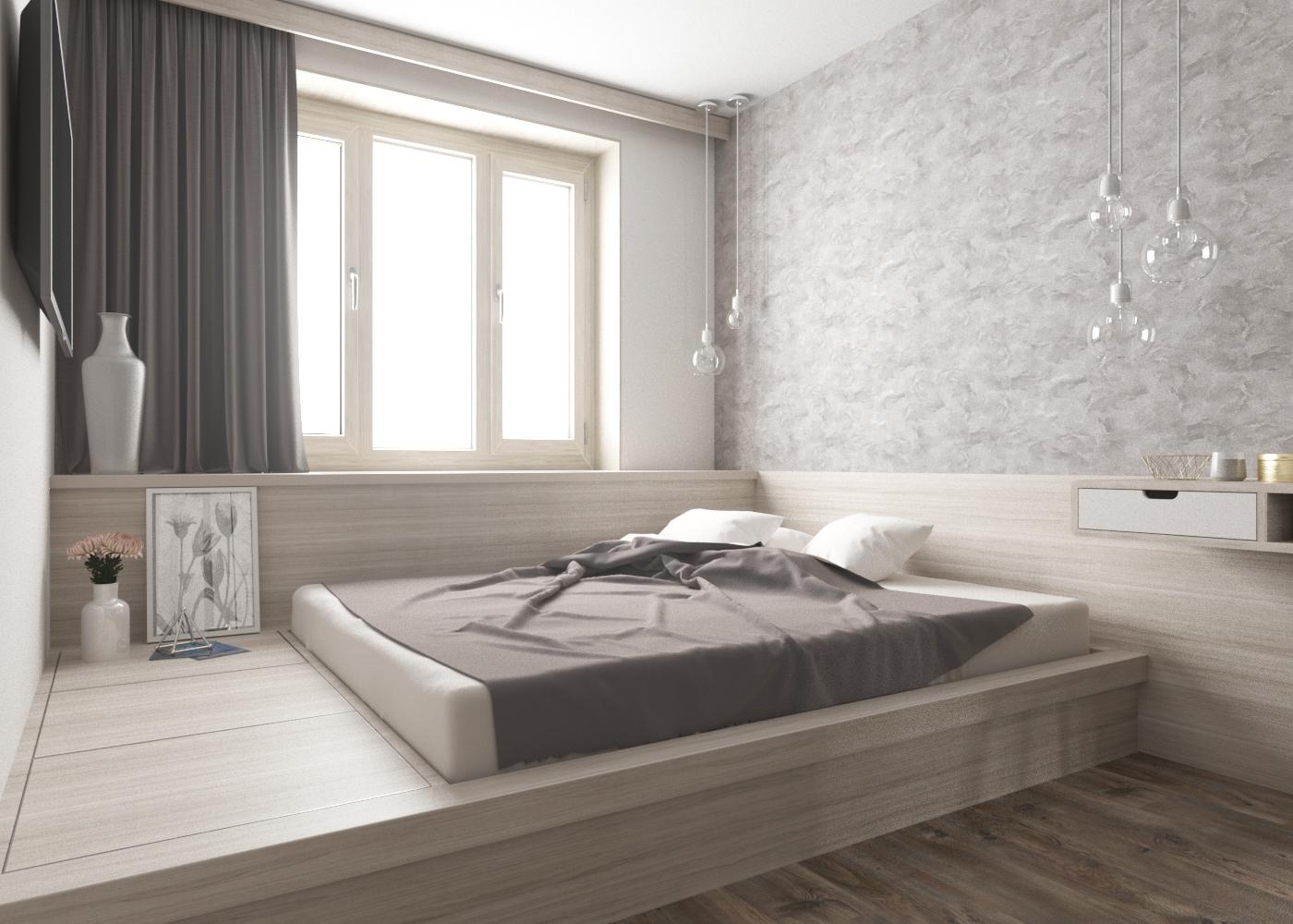 Кровать подиум серая