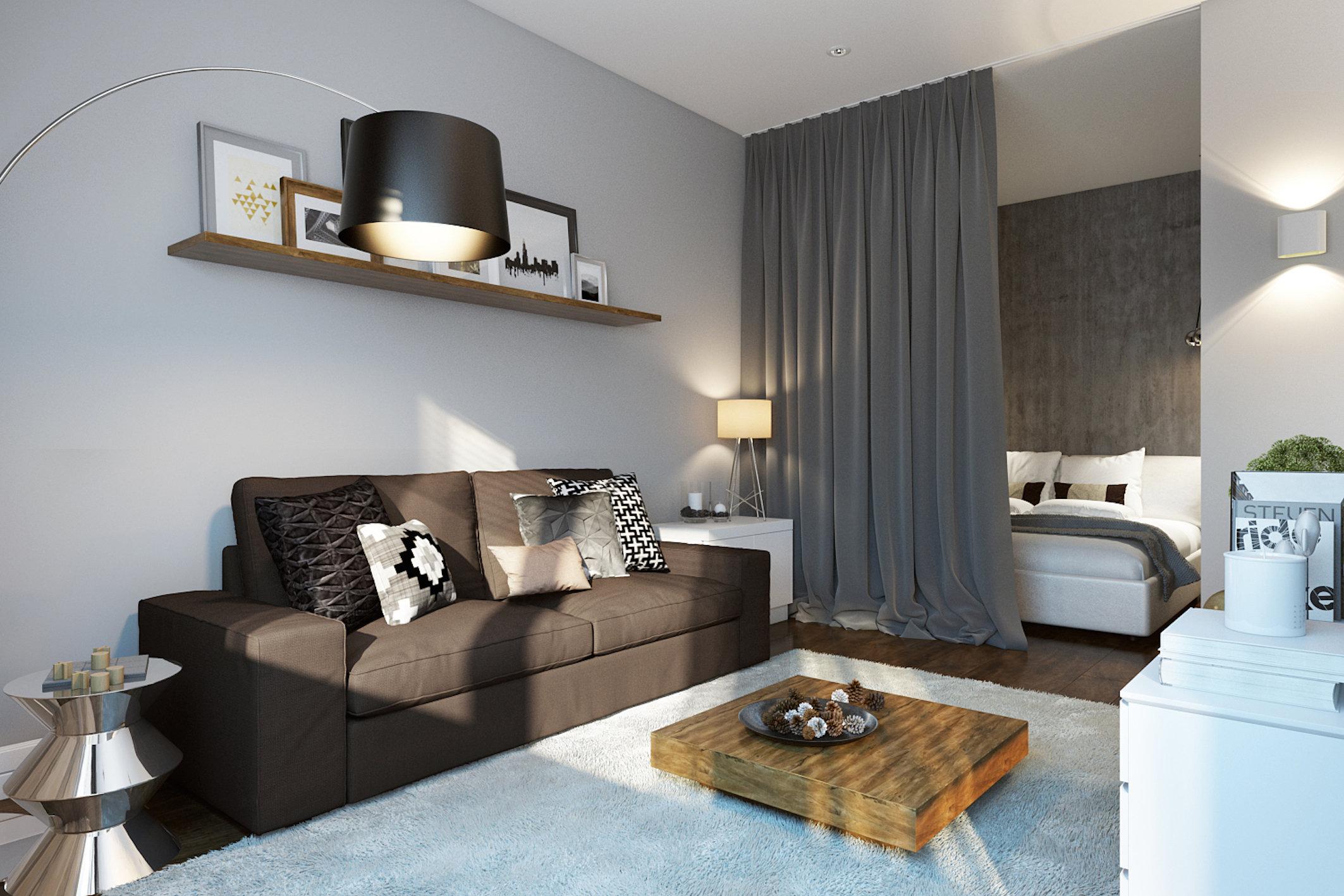 Как расставить мебель в однокомнатной квартире со шторой перегородкой