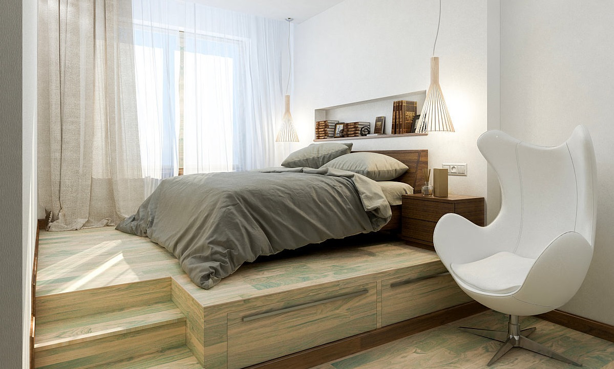 Кровать подиум светлая