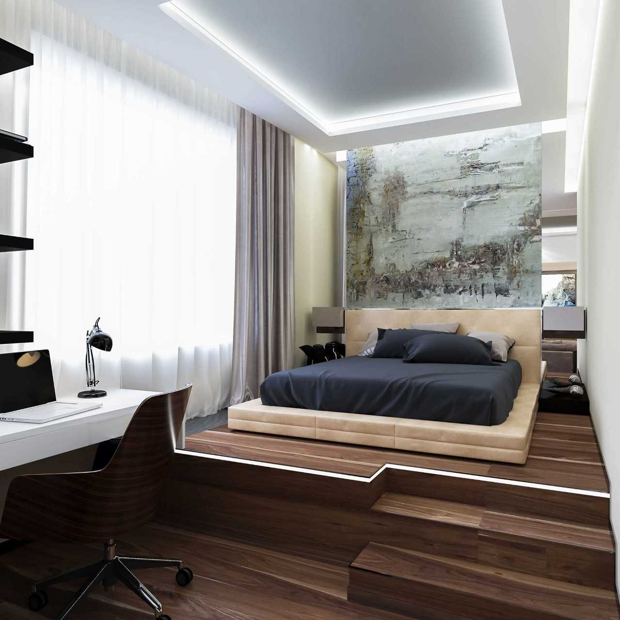 Кровать подиум темная