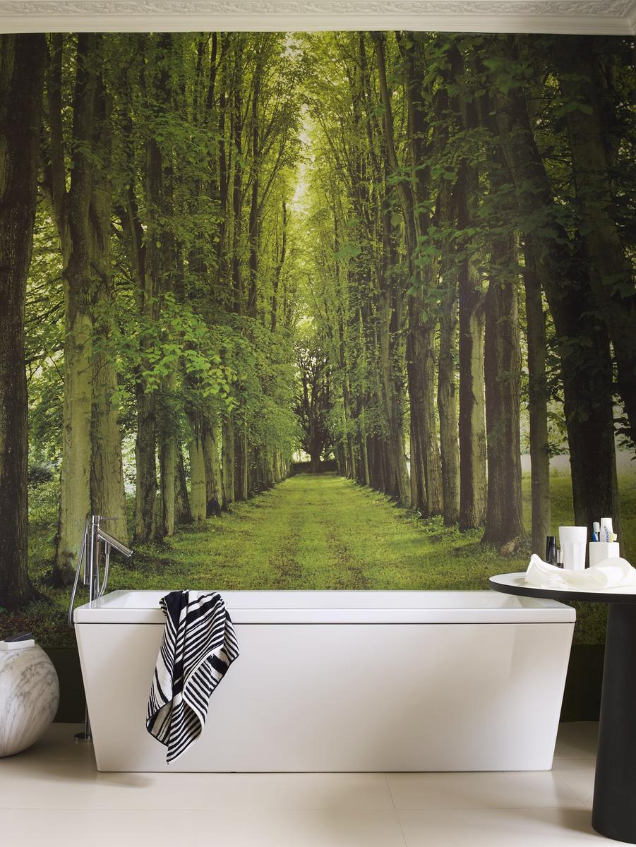 Фотообои лес в ванной