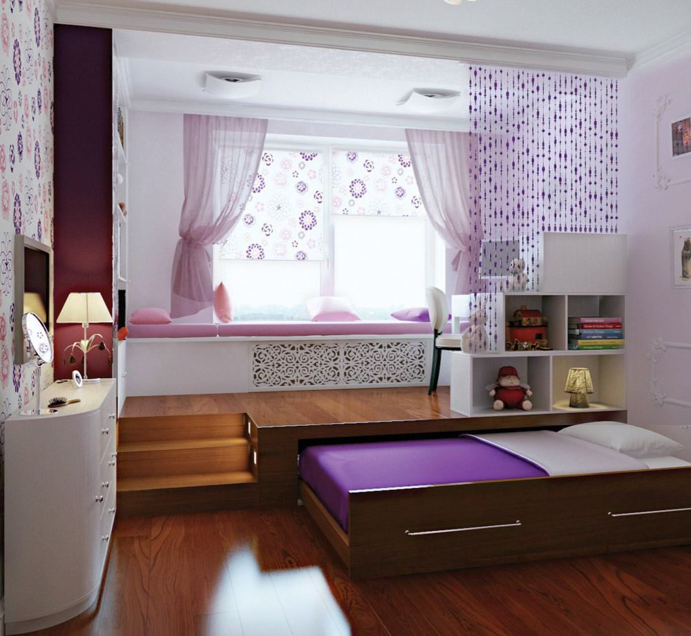 Кровать подиум выдвижная зонирование