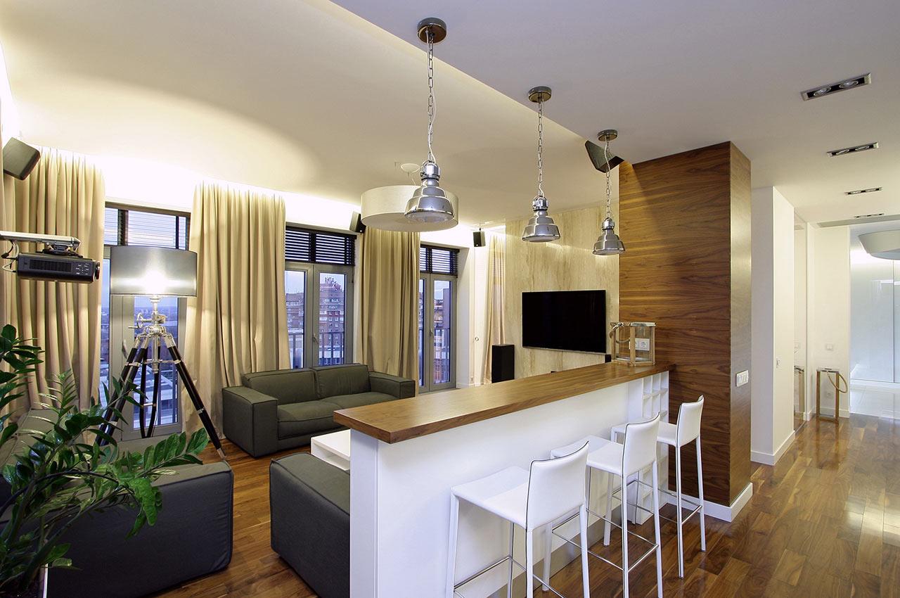 Дизайн кухни гостиной с барной стойкой