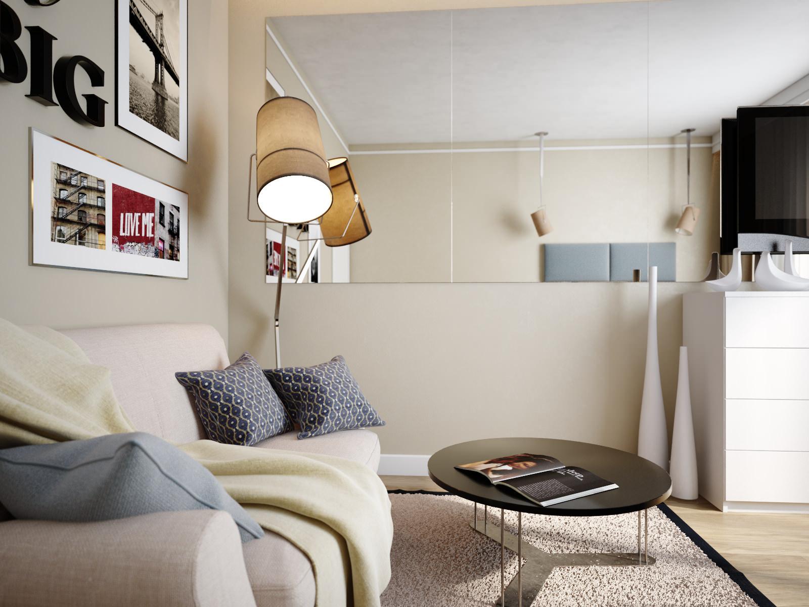 Однокомнатная квартира 40 кв м с бежевыми стенами