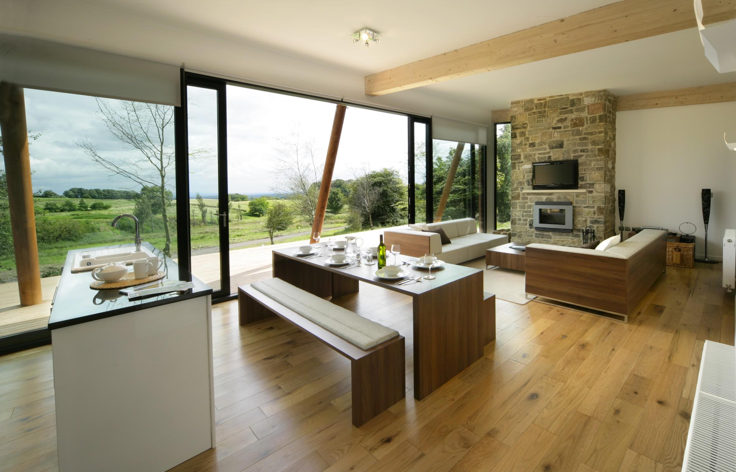 Дизайн кухни гостиной с биокамином