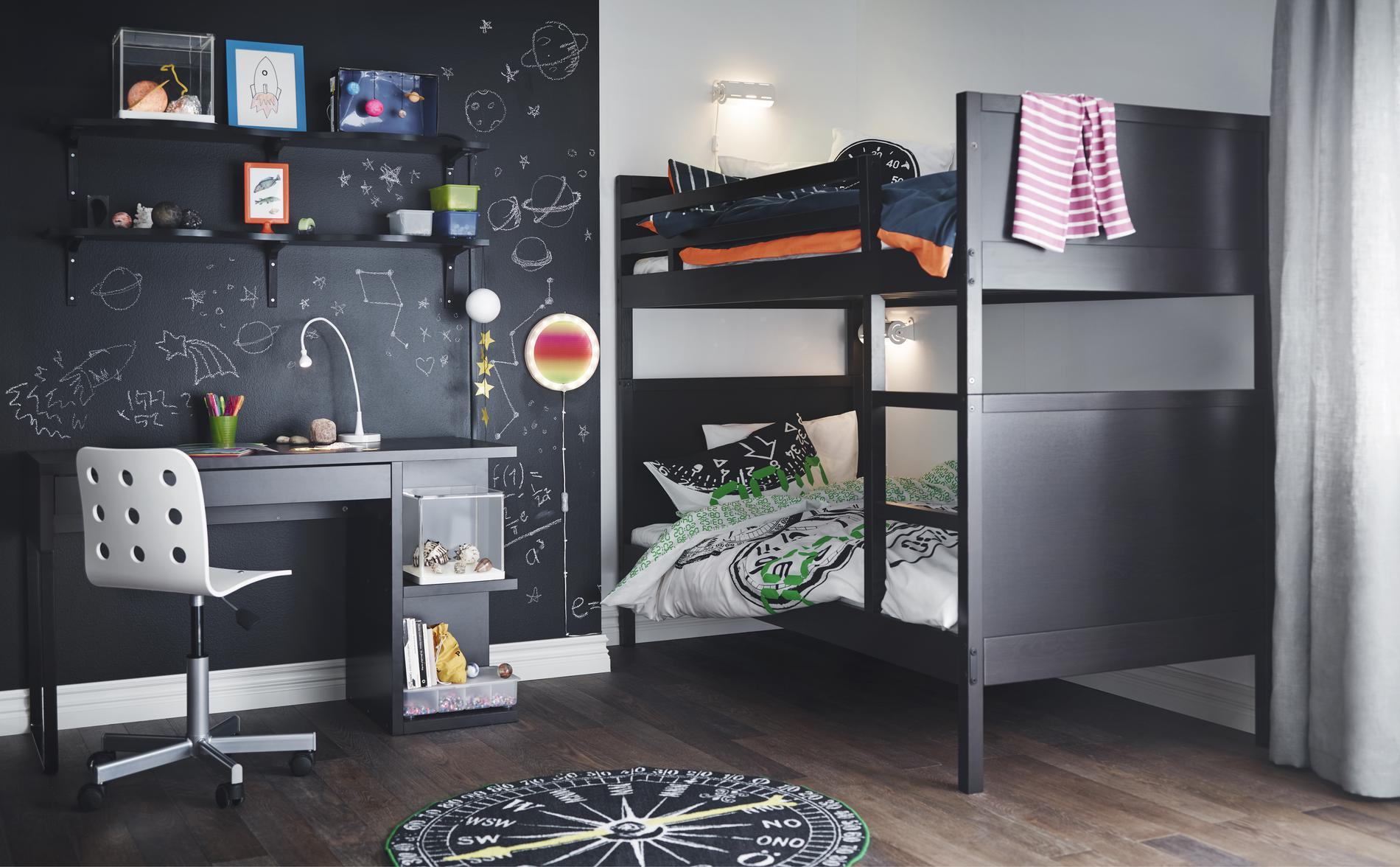 Планировка детской с кроватью черной