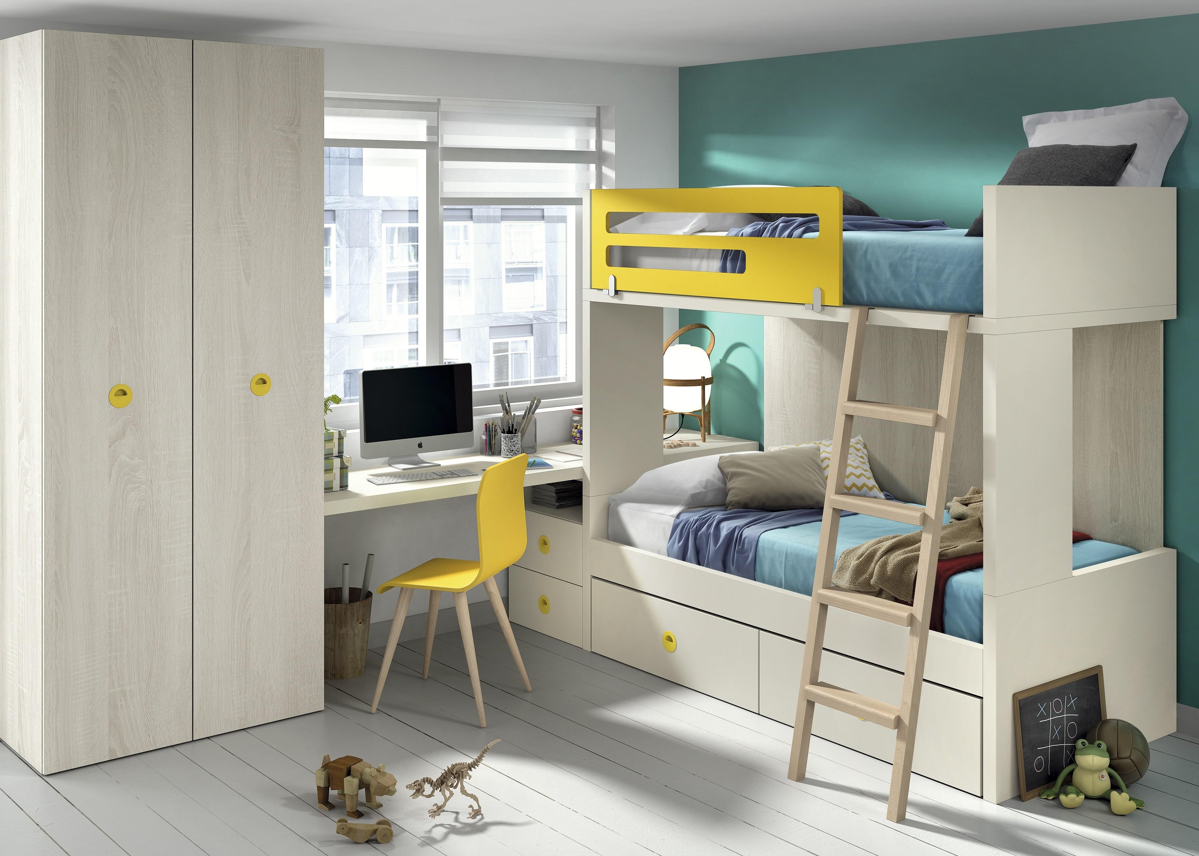 Планировка детской с двухэтажной кроватью