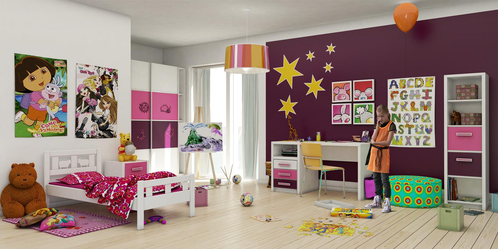 Планировка детской с фиолетовыми стенами