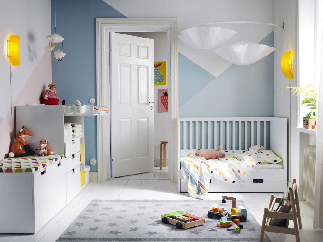 Планировка детской голубой