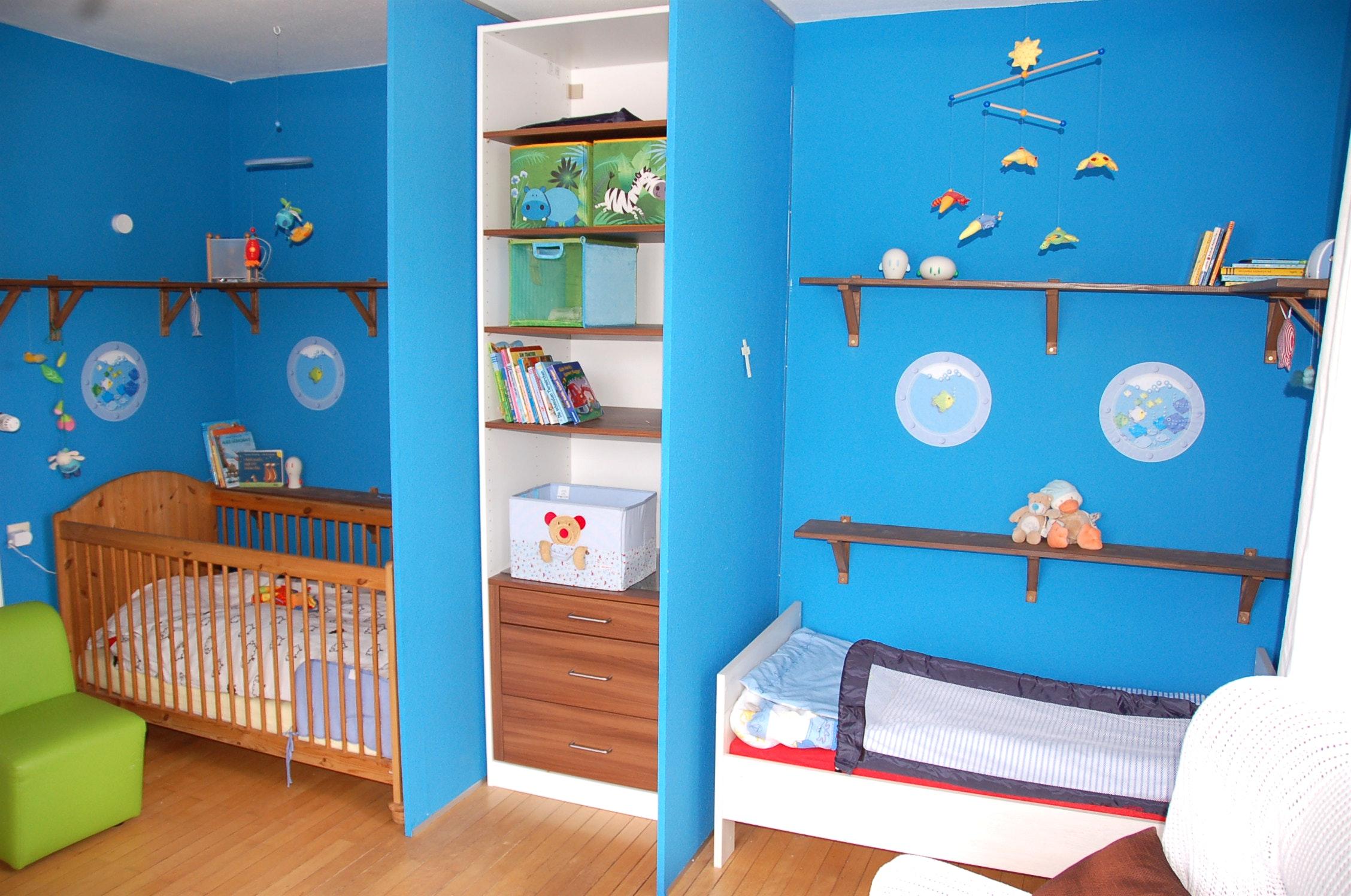 Детская для двоих детей голубая