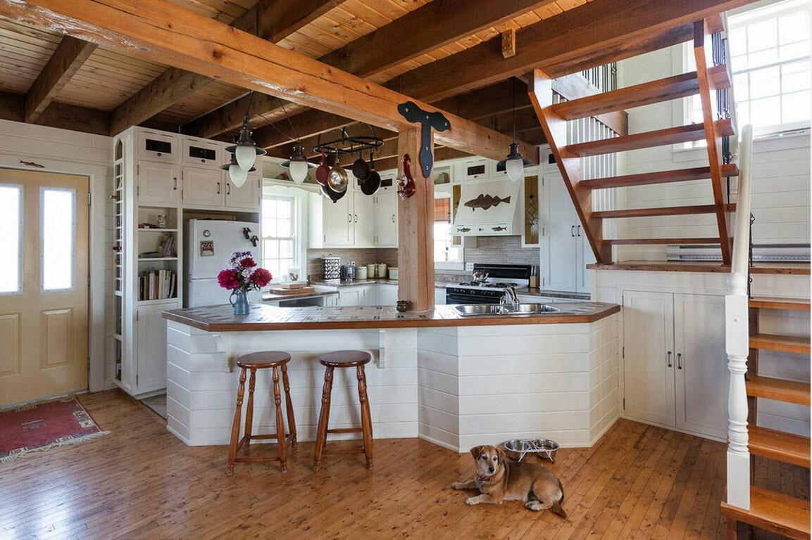 Дизайн кухни гостиной в стиле кантри