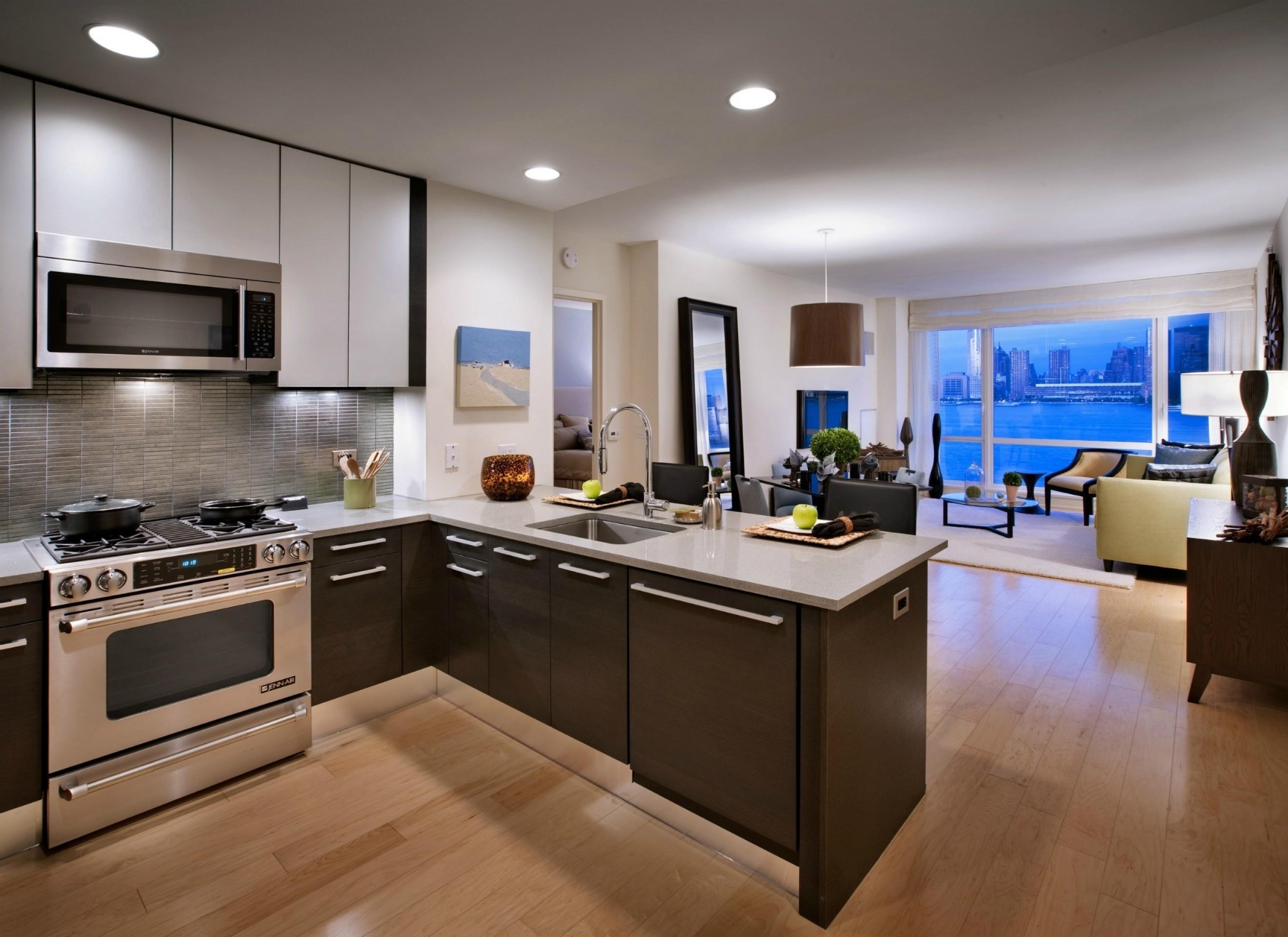 Дизайн кухни гостиной коричневой
