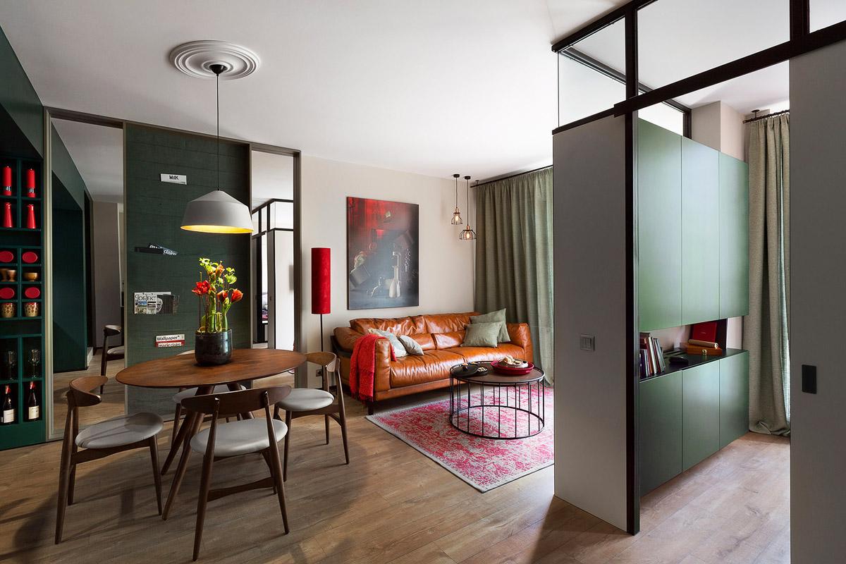 Однокомнатная квартира 40 кв м с кожаной мебелью