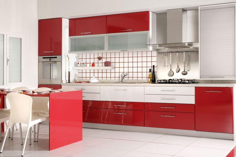 Реставрация кухонного фасада красного
