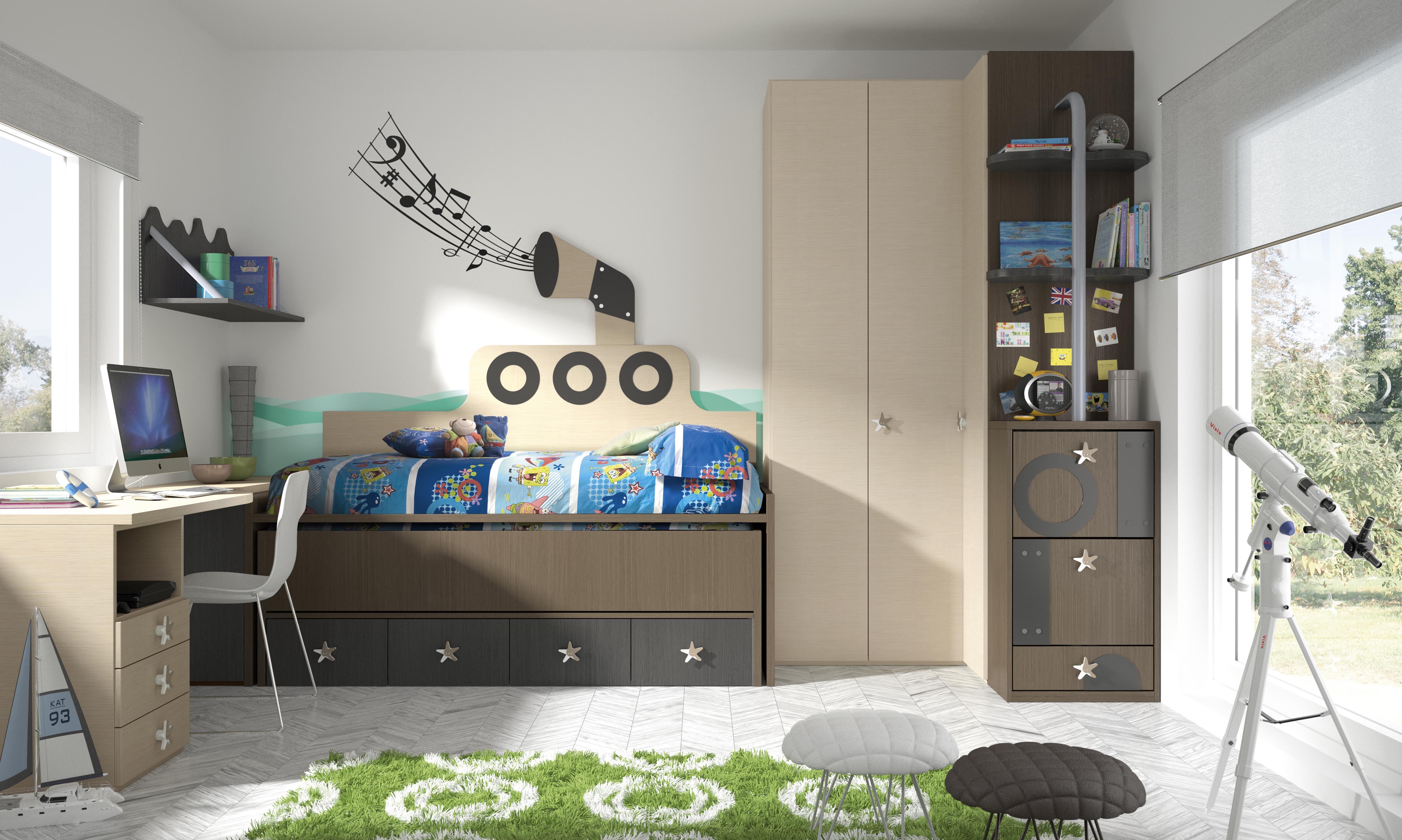 Декор детской комнаты для мальчика с коричневой мебелью