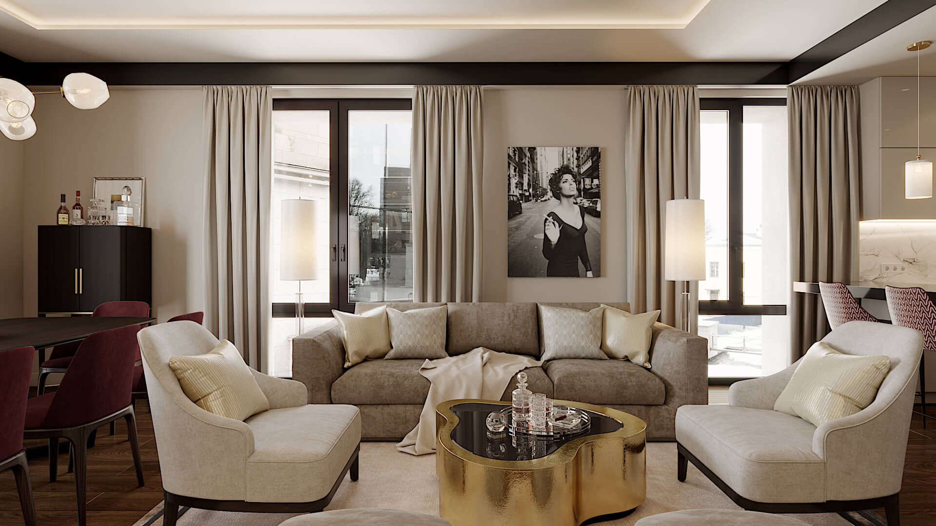 Однокомнатная квартира 40 кв м в стиле модерн