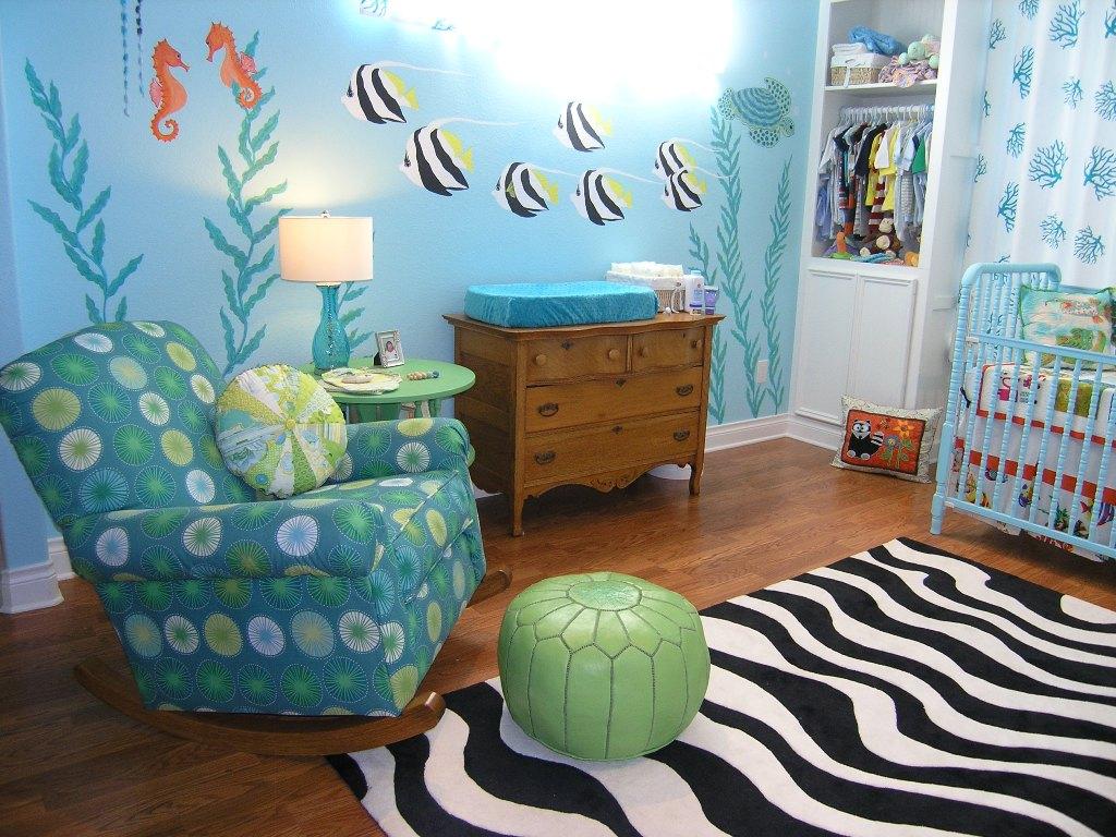 Декор стен детской комнаты в морском стиле