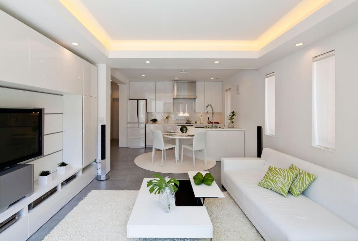 Дизайн кухни гостиной однотонный
