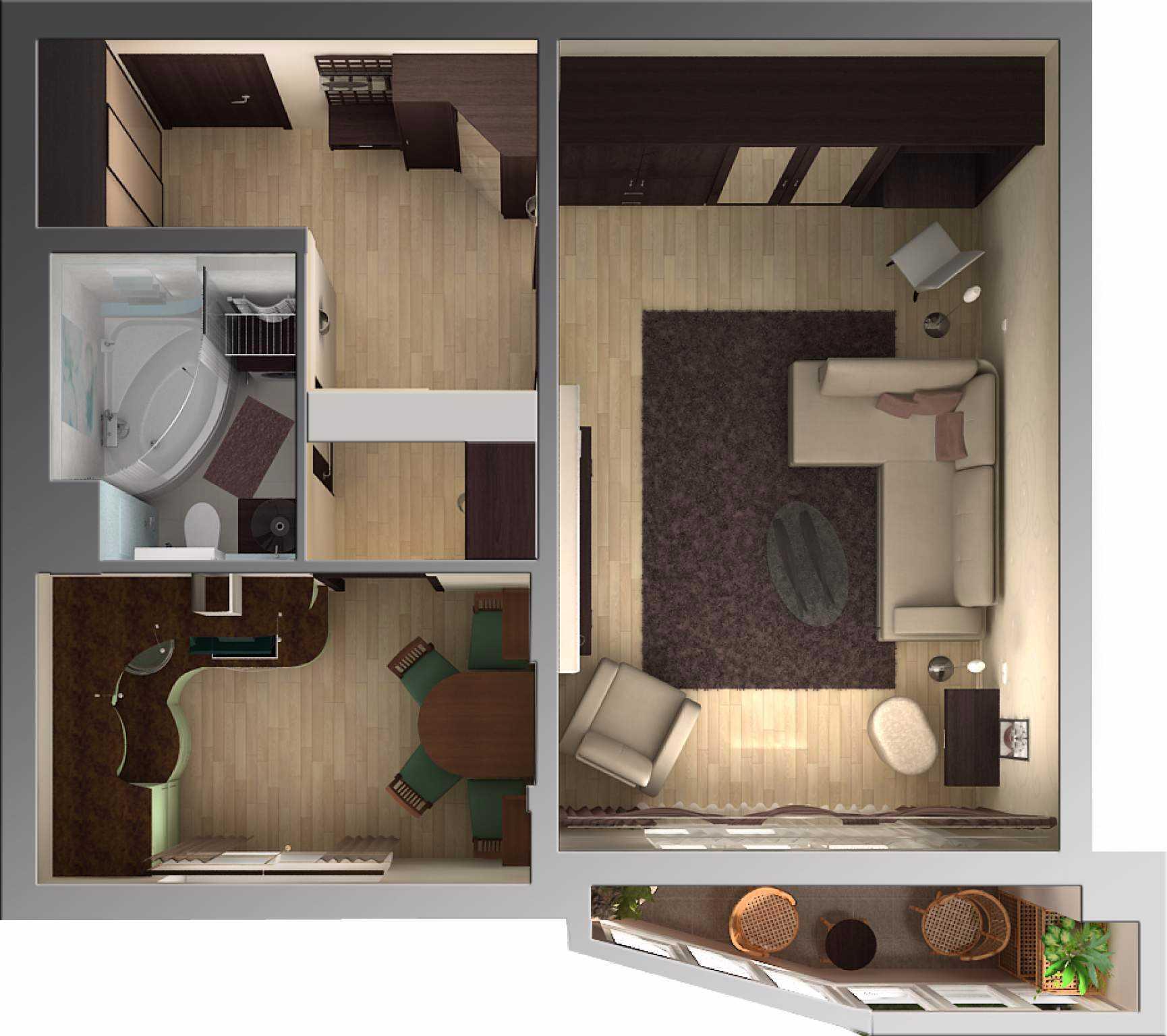 Однокомнатная квартира 40 кв м план сверху