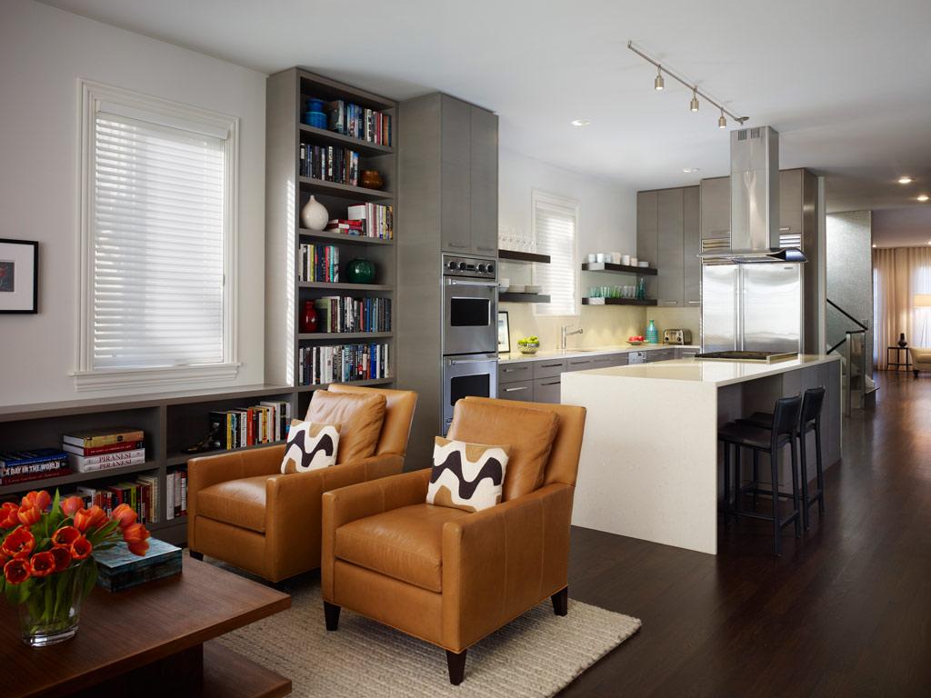 Дизайн кухни гостиной с полками