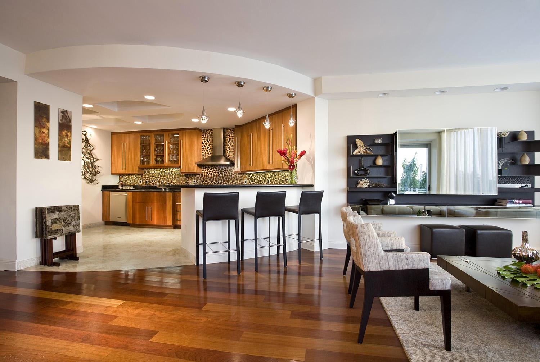 Дизайн кухни гостиной полукруглый