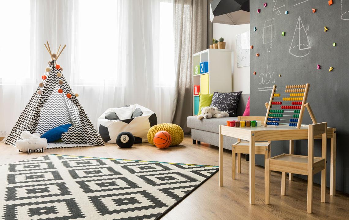 Планировка детской комнаты в сером дизайне