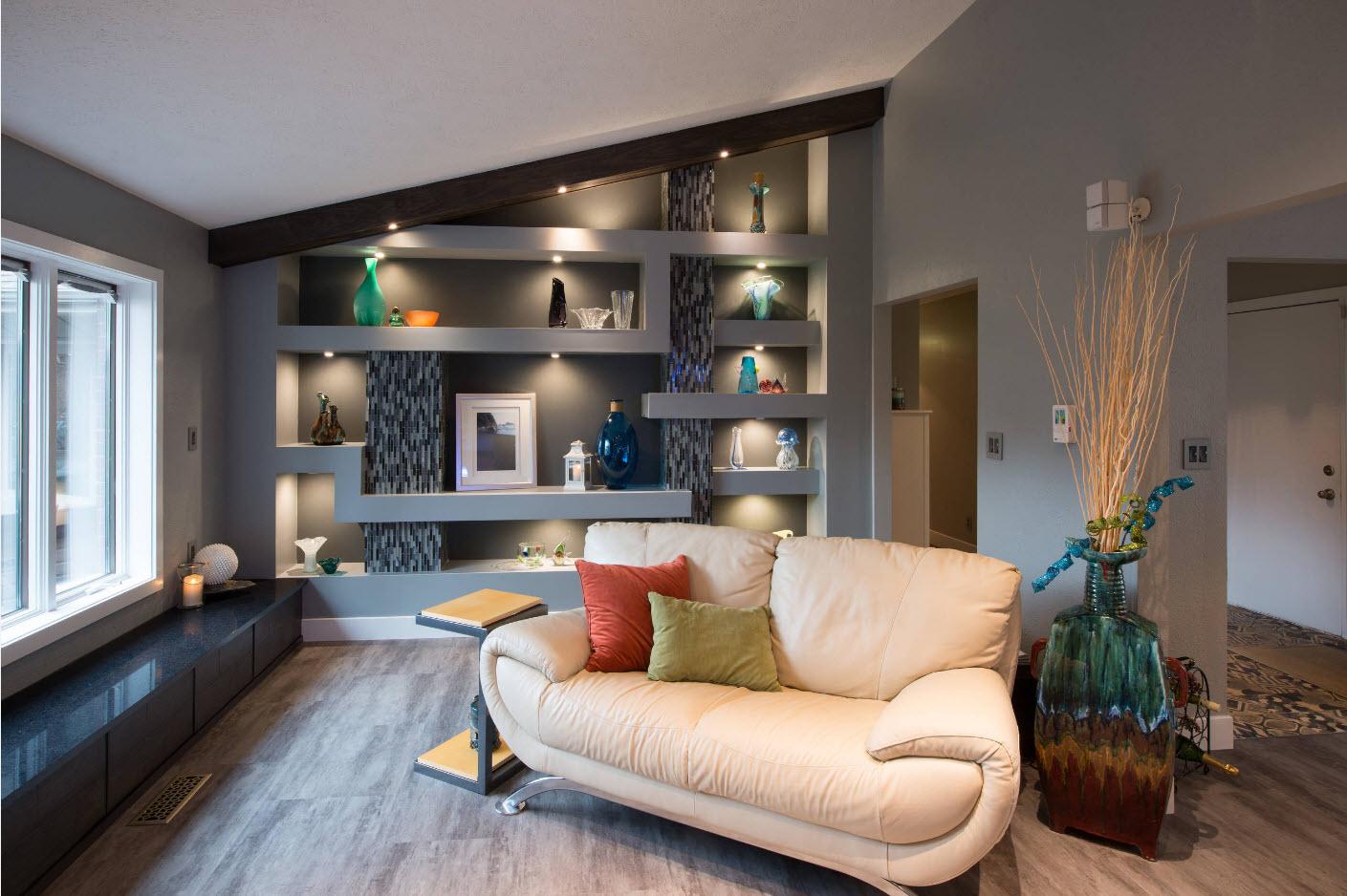 Идеи зонирования в серой гостиной