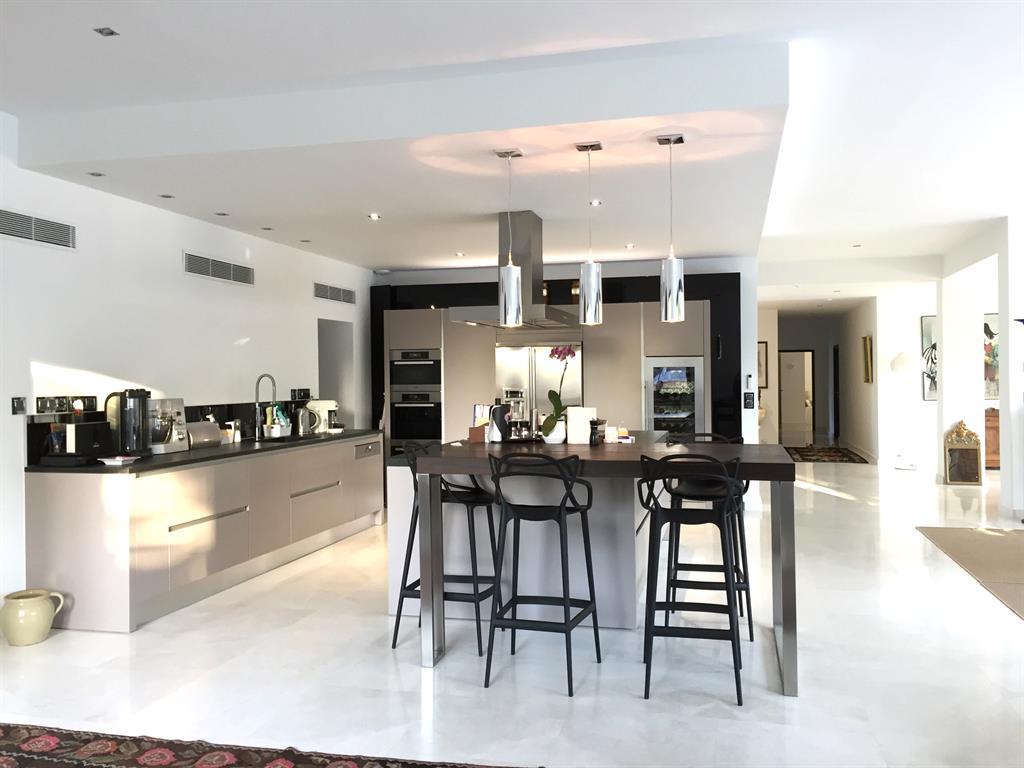 Дизайн кухни гостиной стальной
