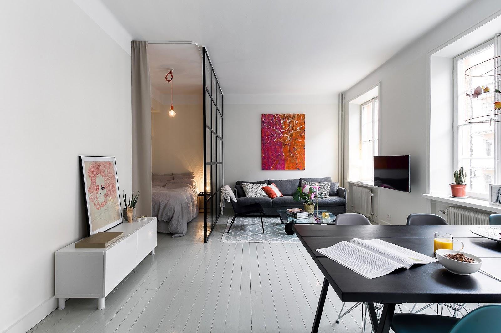 Однокомнатная квартира 40 кв м со стеклянной перегородкой
