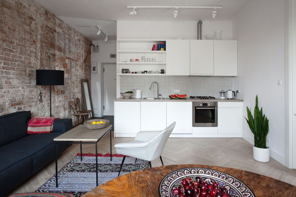 Однокомнатная квартира 40 кв м с кирпичной стеной