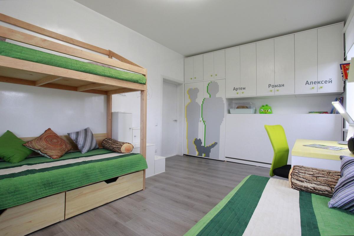Планировка детской комнаты для трех мальчиков