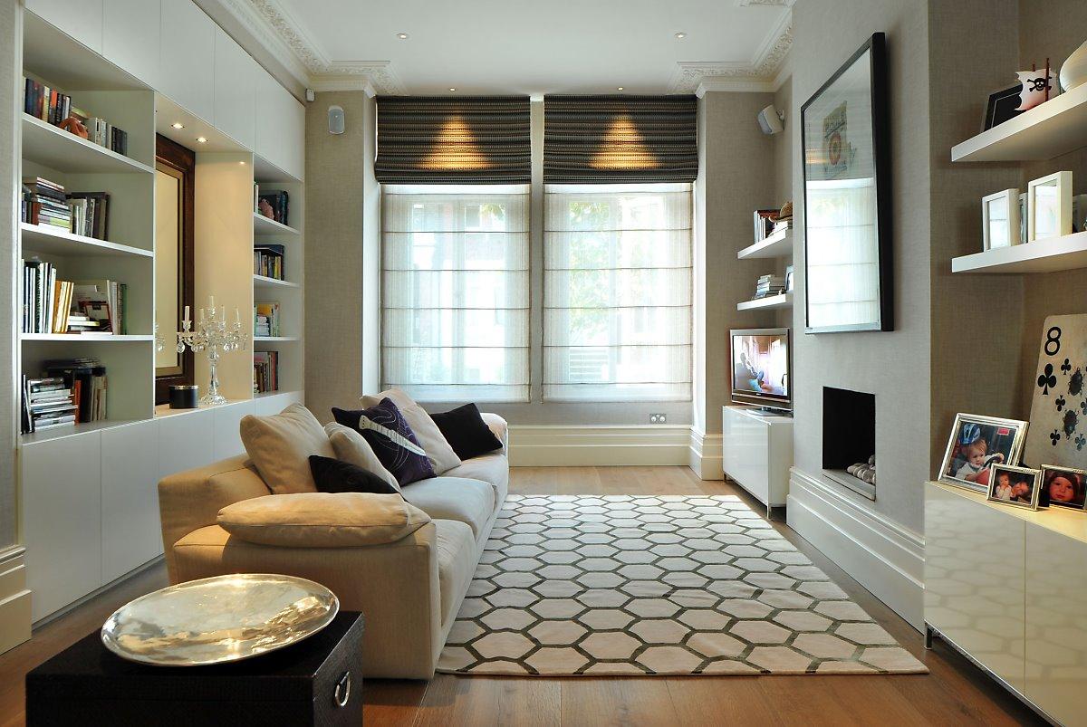 Идеи зонирования гостиной со встроенной мебелью