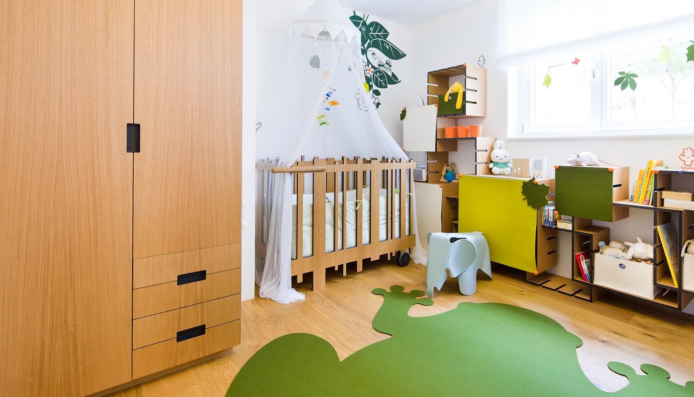Планировка детской комнаты зеленой