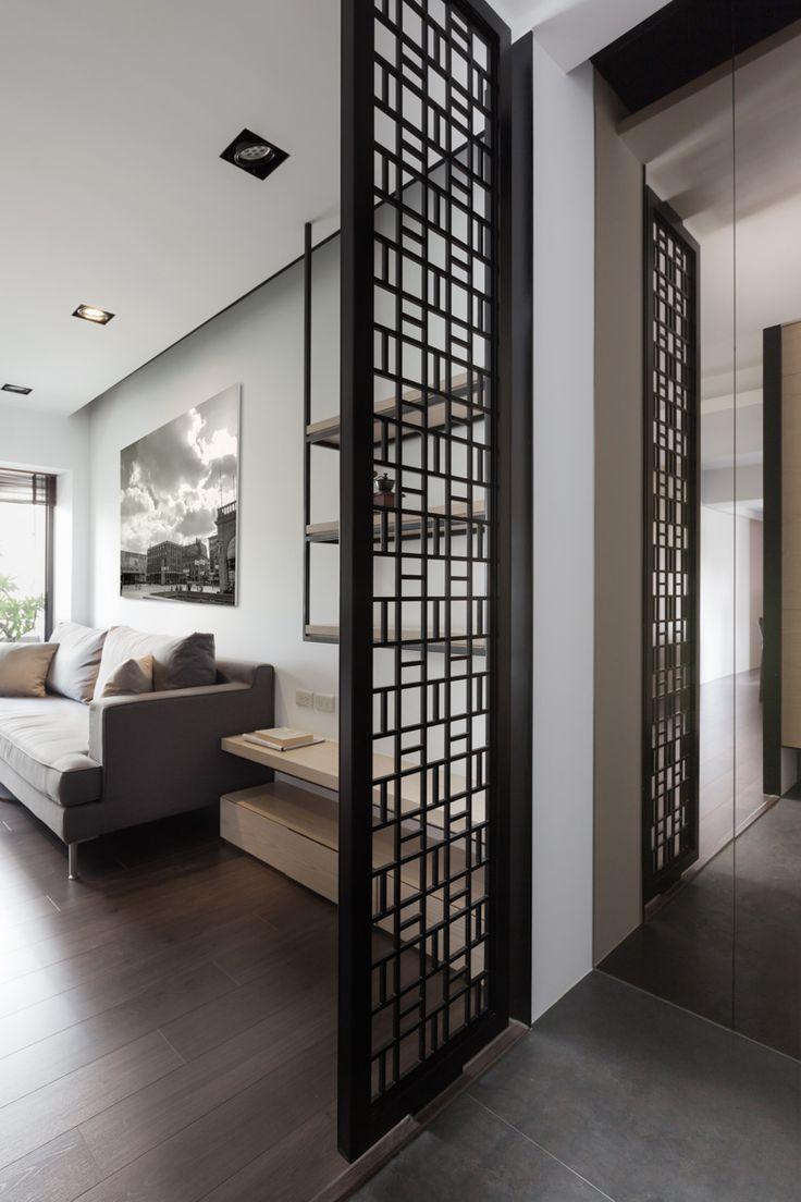 Однокомнатная квартира в японском стиле с перегородкой