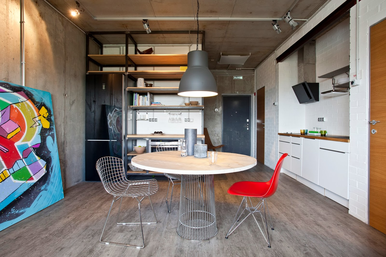 Стили однокомнатных квартир с бетоном