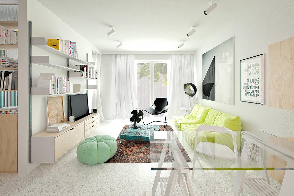 Однокомнатная квартира в стиле хай тек светлая