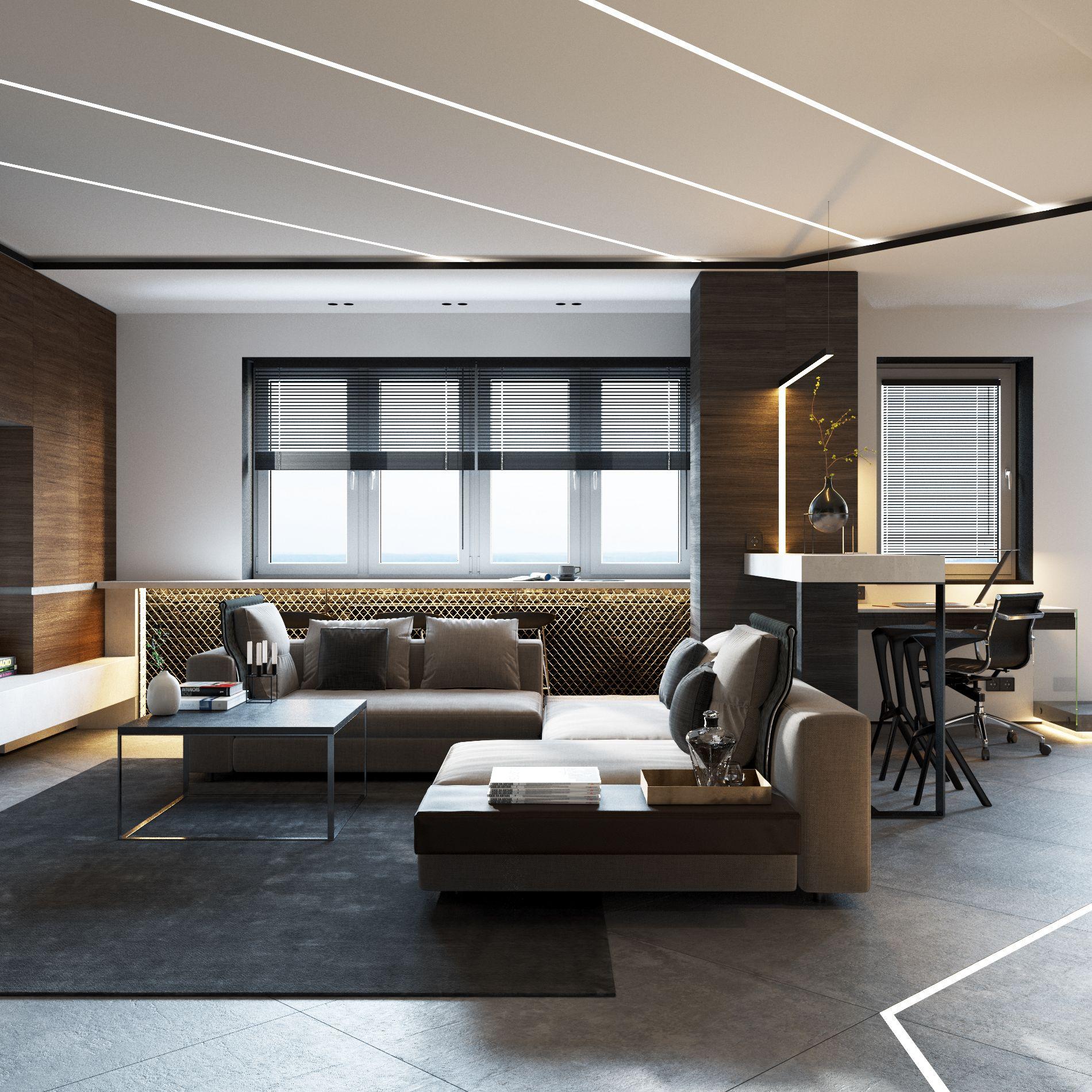 Однокомнатная квартира в стиле хай тек коричневая