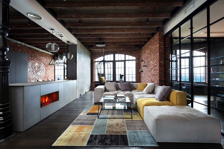 Однокомнатная квартира лофт в индустриальном стиле