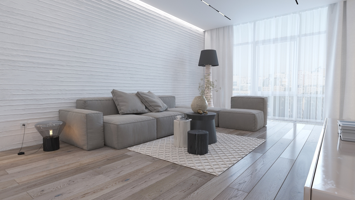 Однокомнатная квартира в стиле минимализм серая