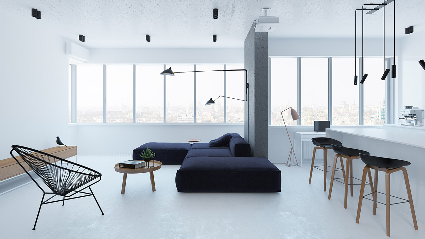 Однокомнатная квартира в стиле минимализм черно-белая