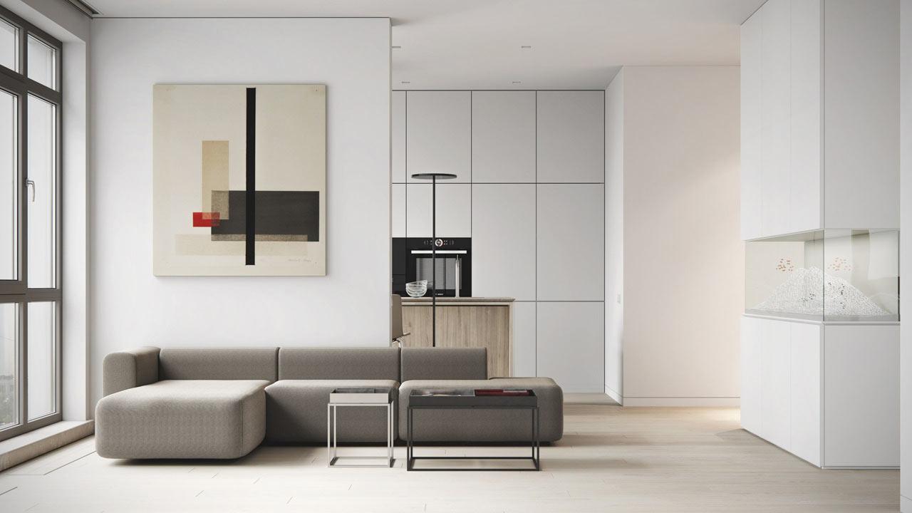 Однокомнатная квартира в стиле минимализм светлая