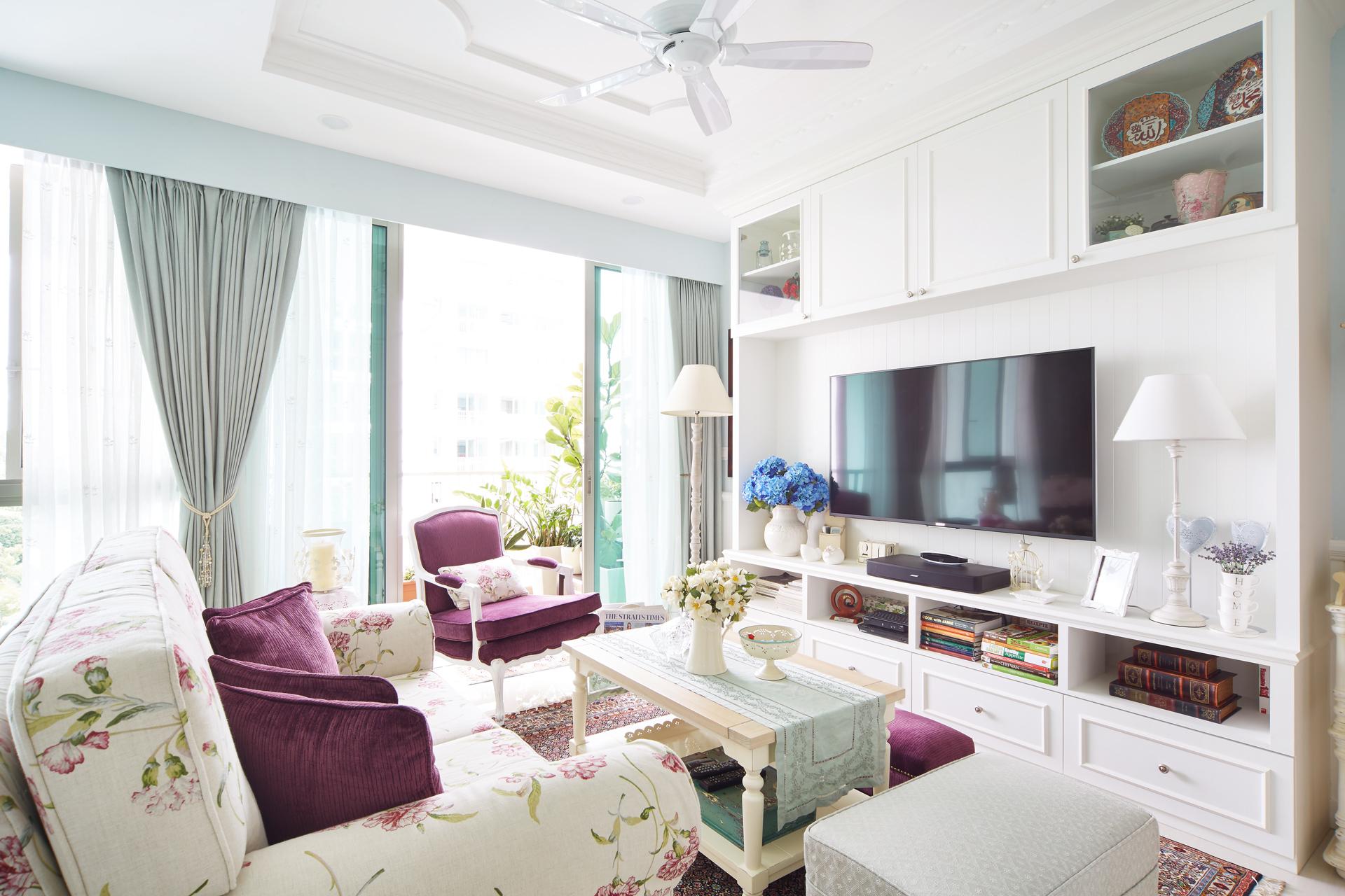 Однокомнатная квартира в стиле прованс с залом