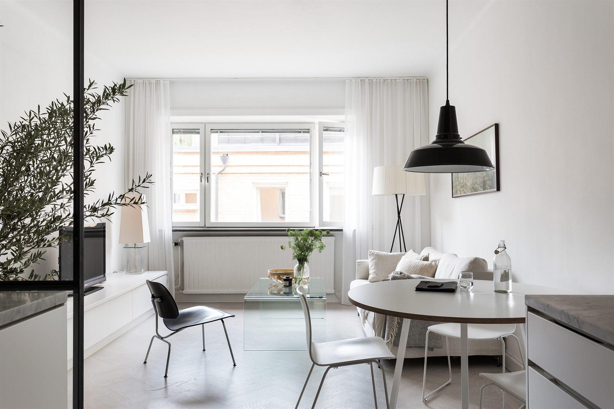 Однокомнатная квартира в скандинавском стиле светлая